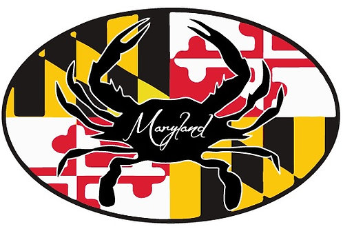 66074 - Oval Sticker MD Flag Crab Silhouette