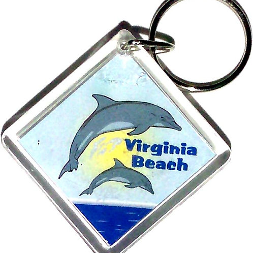 30695 - Lucite Key Ring VB Dolphins