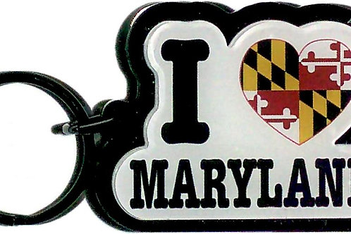 66099 - Lucite Decowood Key Ring I Heart MD