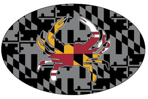 66077 - Oval Sticker MD Flag Crab Gray Scale