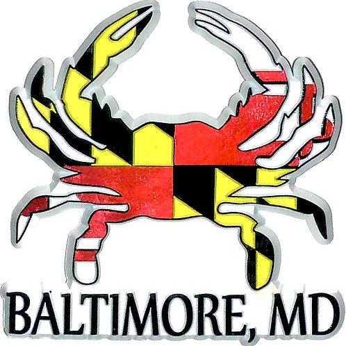 66808 - Rubber Foil Magnet MD Flag Crab Baltimore