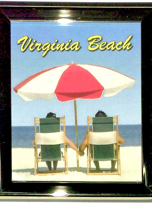 30712 - Framed Magnet VB Beach Chair Couple