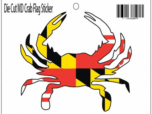 66069 - Die Cut MD Flag Crab Sticker