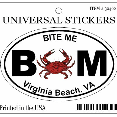 30462 - Hanging Oval Sticker VB Bite Me Crab
