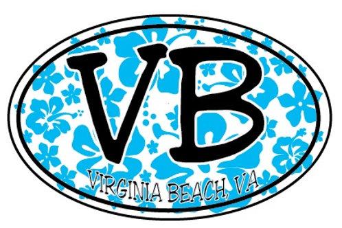 30059 - Oval Sticker VB Blue HIbiscus