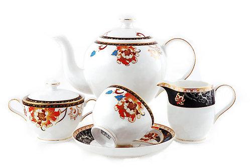 """Чайный сервиз, 17пр., """"Сказочный цветок"""", «Royal Bone China», 8902/17095"""