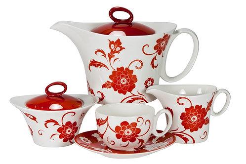 "Чайный сервиз, 17пр., ""Амата Красный"", «Royal Fine China», 8917/17007"