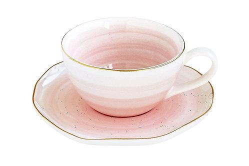Чашка для кофе с блюдцем Artesanal,розовая, EL-1588/ARTP