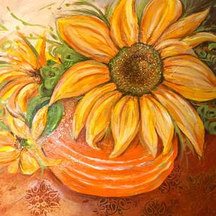 Last Sunflowers | 24x36 | Acrylic