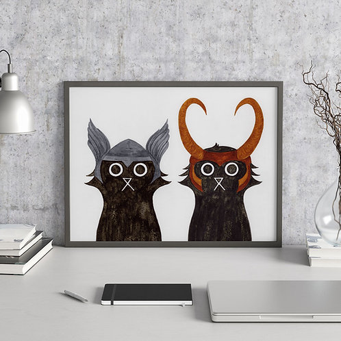 ink and salt black cat duo illustration print, featuring Asgard's Thor and Loki next to each other