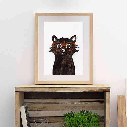 ink and salt black cat illustration print, wearing Clark Kent styled glasses