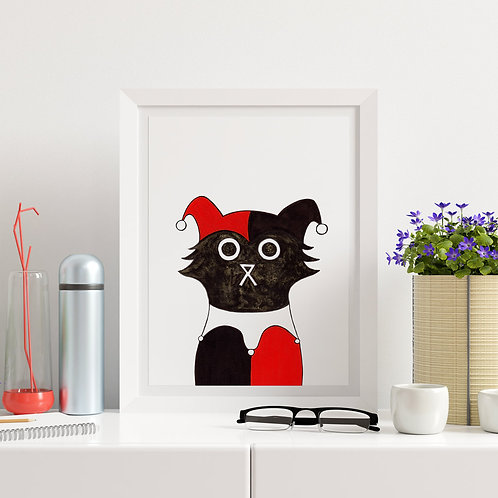 hand-drawn salt and ink illustration print, depicting a cute cat dressed as Harley Quinn in red and black
