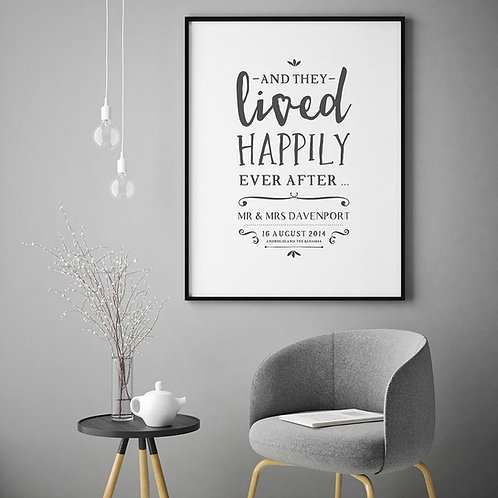 typographic illustration print, depicted and listing a couples name, wedding date and location