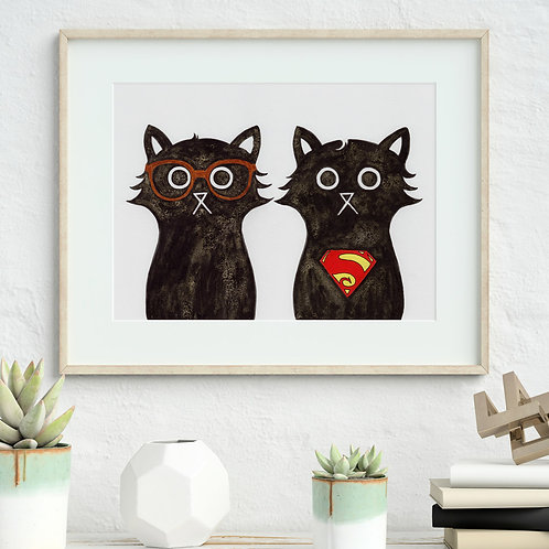 ink and salt black cat duo illustration print, featuring Clark cat and Super Cat next to each other