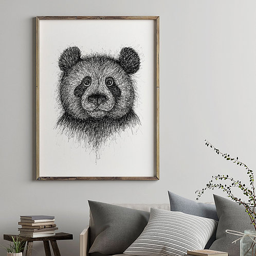 hand-drawn black and white scribble illustration print of a panda