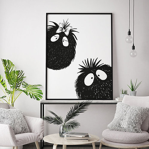 a peekaboo monster couple illustration print, done in black and white, showing a male and female