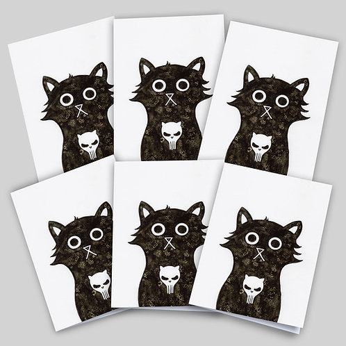 Greeting cards 6 pack featuring an ink and salt black cat illustration with the Punisher's skull on his chest