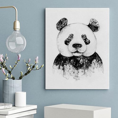 salt and ink illustration print of a panda