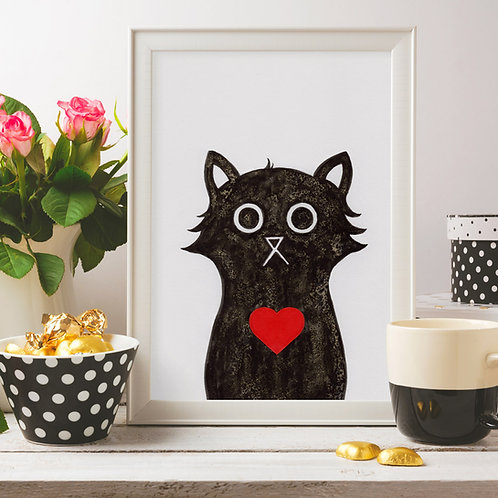 hand-drawn salt and ink illustration print, depicting a cute cat with a red heart on its chest, zoomed in