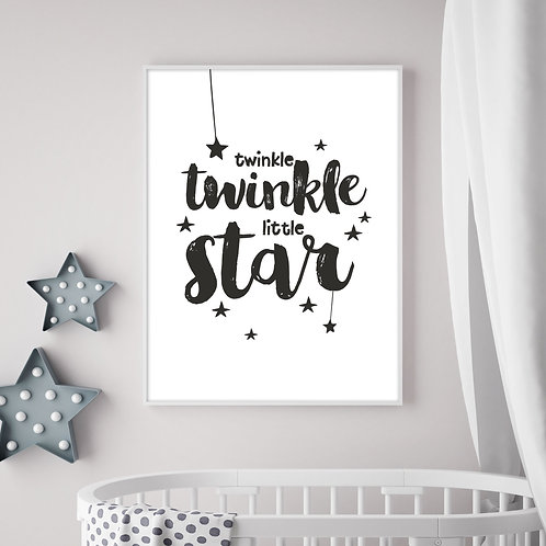 a black and white typographic illustration print of the children's nursery rhyme, twinkle, twinkle