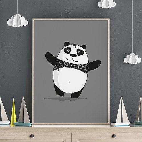 a hand-drawn cute panda illustration print, with arms wide open, ready for a hug