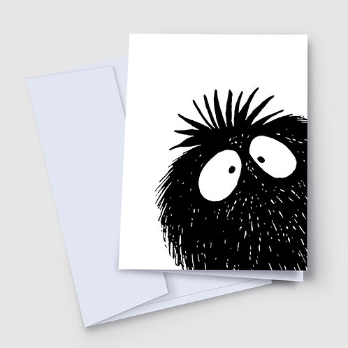 A 7x5 inch greeting card featuring a peekaboo monster, done in black and white, peeking in from the bottom right corner