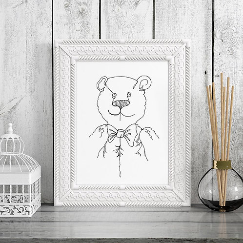 a continuous lined hand-drawn line illustration print of a bear