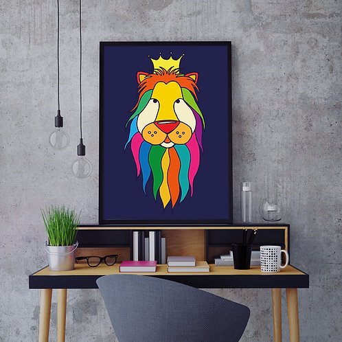 a brightly multi-coloured, hand-drawn lion illustration print with a crown, on a dark blue background