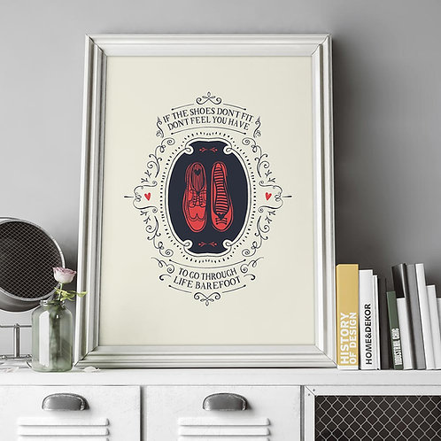 a typographic illustration using shoe icons, with wording scrolled around the outside, if the shoes doesn't fit
