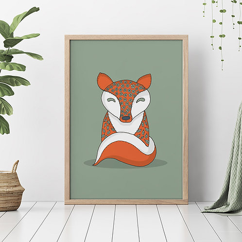 hand-drawn fox illustration print, made to look like it's stitched around the edges, in orange and green colours