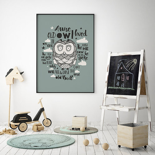 a typographic and illustration print, featuring an owl and nursery rhyme wording, set on a dark turquoise background