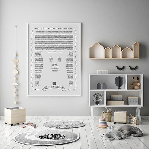 teddy bears picnic print, using the entire stories word around the  bear in the negative space