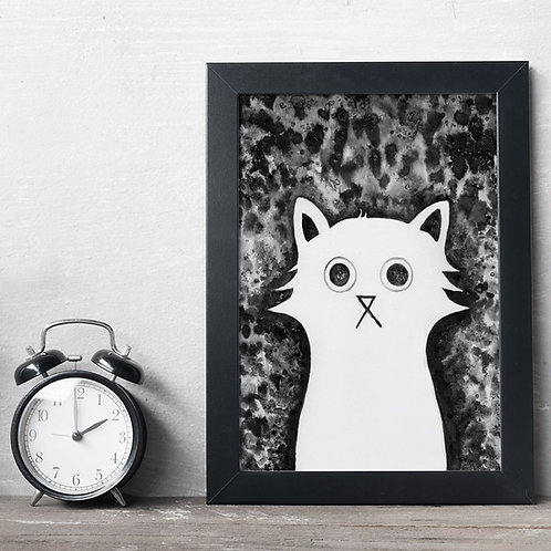 ink and salt illustration print of a white cat, in the negative space, with a black background