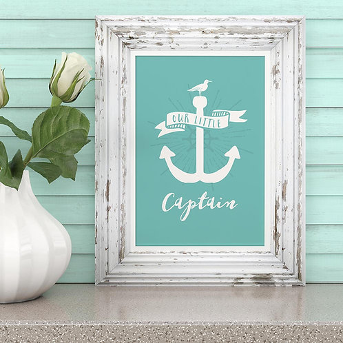 "a nautical anchor illustration print,  with the words ""our little captain"""