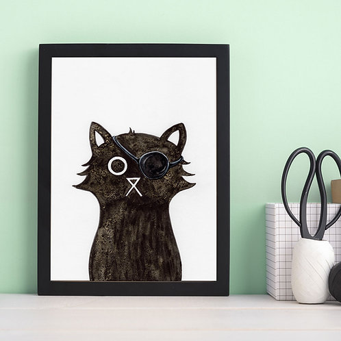 hand-drawn salt and ink illustration print, depicting a cute cat with the Avengers Nick Fury eye patch