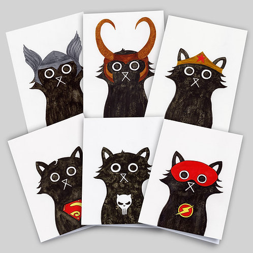 Greeting cards 6 pack superhero cat collection, featuring Thor Cat, Loki Cat, Wonder Cat, Super Cat, Punisher Cat & Flash Cat