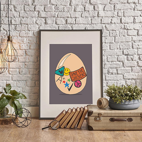 a hand-drawn egg illustration print, featuring an egg with badges and stickers on it