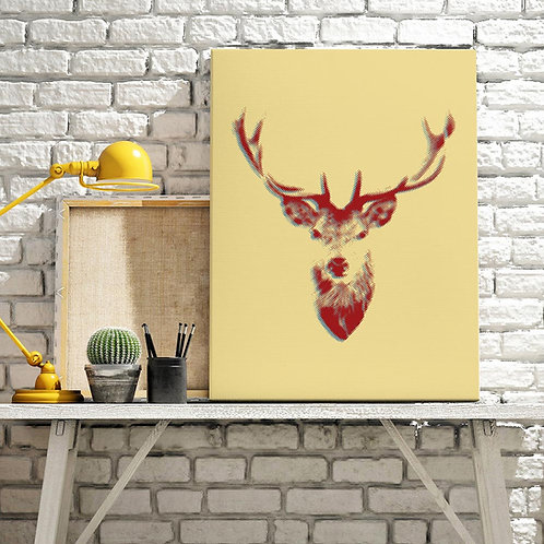 a stags head illustration print, pixelated in style and double exposure, done in red on a cream background