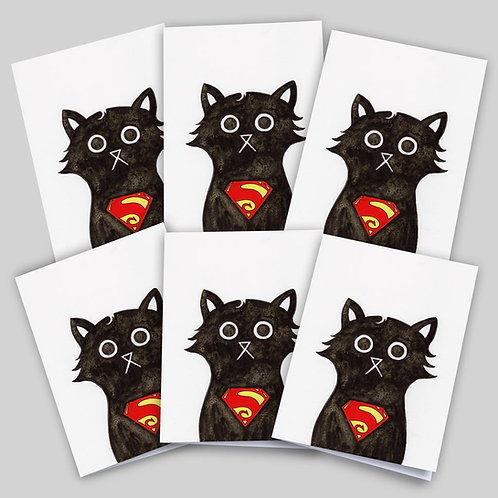 Greeting cards 6 packfeaturing an ink and salt black cat illustration wearing Superman's logo on his chest