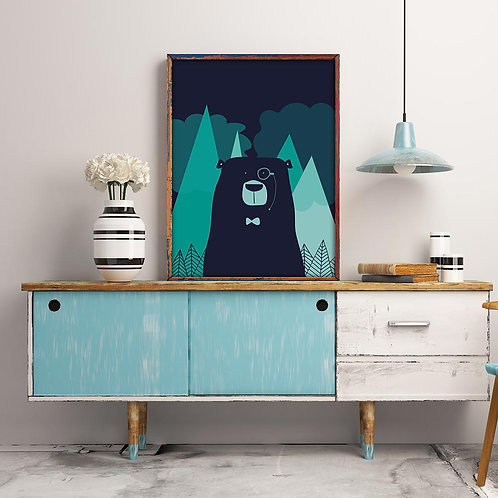 nordic bear illustration print, featuring a bear wearing a bowtie and monocle, in dark blues and turquoise colour palette