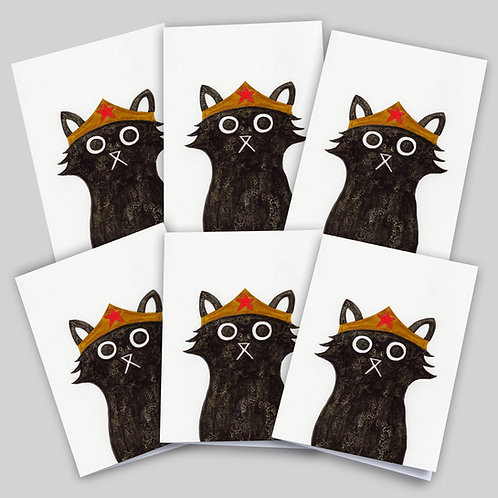 Greeting cards 6 packfeaturing an ink and salt black cat illustration wearing Wonder Woman's headdress