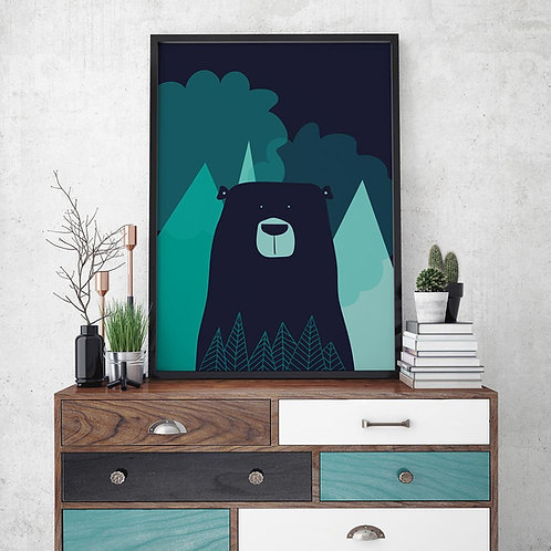 nordic bear illustration print, featuring a bear in dark blues and turquoise colour palette