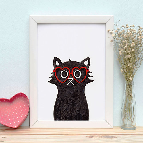 a salt and ink illustrated cat that's wearing red glasses in the shape of a heart
