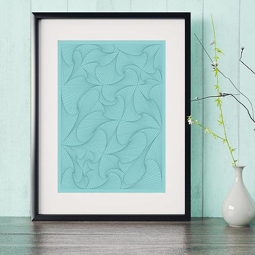 digital illustration print of waves creating a pattern