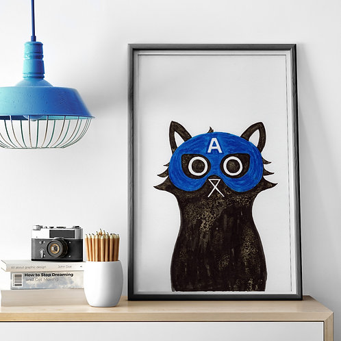 ink and salt black cat illustration print, wearing the superhero, Captain America's mask