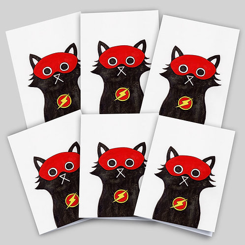 Greeting cards 6 pack featuring an ink and salt black cat illustration wearing Flash's mask and lightning bolt