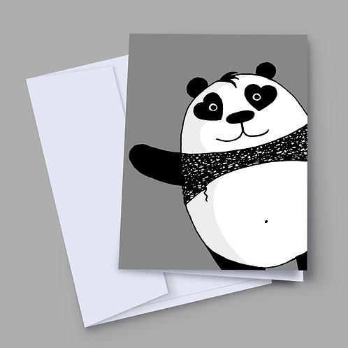 A 7x5 inch greeting card with hand-drawn black and white panda, with hearts for eyes, appearing from the bottom right corner