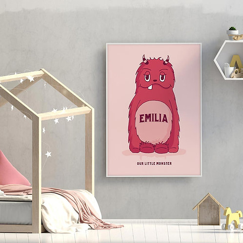 hand-drawn little monster illustration print, depicting your kids name on the chest