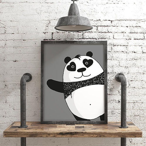 a hand-drawn black and white panda illustration print, with hearts for eyes, appearing from the bottom right corner