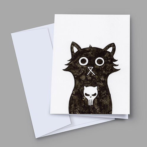A 7x5 inch greeting card featuring an ink and salt black cat illustration with the Punisher's skull on his chest
